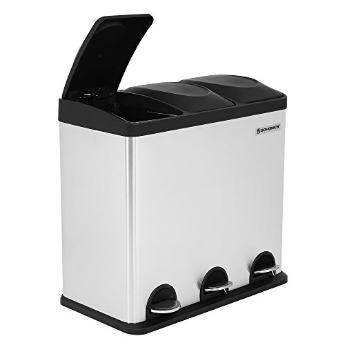 Songmics Pedal Bin Kitchen 54 Litre Trash Can with Inner Bucket Recycling Dustbin Stainless Steel Silver LTB54L