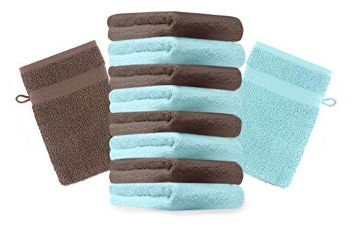 Betz Lot de 10 gants de toilette Premium noisette et turquoise, taille: 16x21 cm