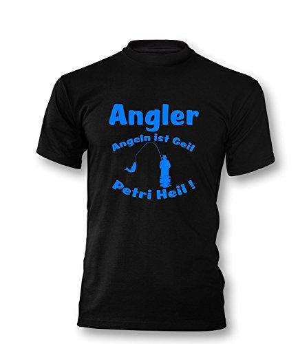 Angler - Angeln ist geil - Petri Heil Herren T-Shirt Schwarz / Blau