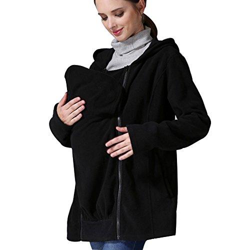 CRAVOG Mutterschaft Kleidung Multi Funktion Mutterschaft Mantel babytrage hoodies Känguru mantel für Schwangere Jacke Schwarz