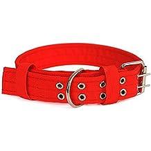 Cdet Collar de perro de nylon con doble pecho acolchado ajustable duros y duraderos para mascotas Rojo