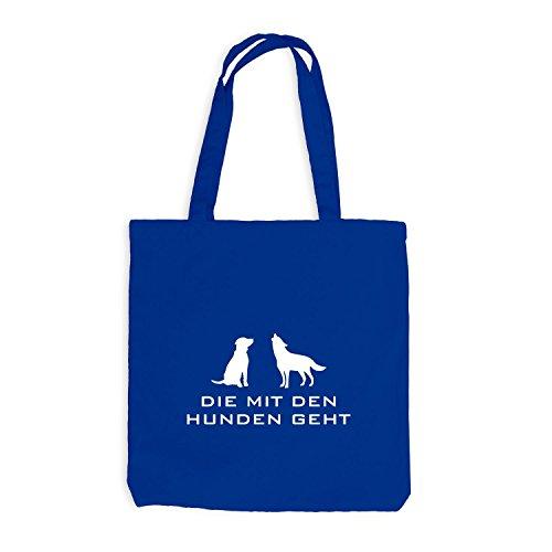 Jutebeutel - Die mit den Hunden geht - Hundesitting Hundehotel Royalblau