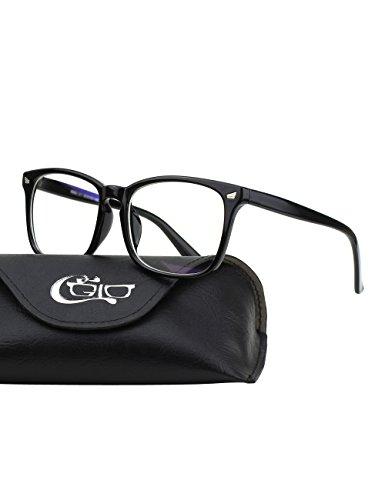CGID BL82 Blaues Licht-blockierende Brille, Anti Blendung Müdigkeit Blockt Kopfschmerzen Augenschmerzen, Sicherheitsbrille für Computer / Telefon / Tablets, Vintage Oversized Bold Large Square Rahmen, Transparente Gläser
