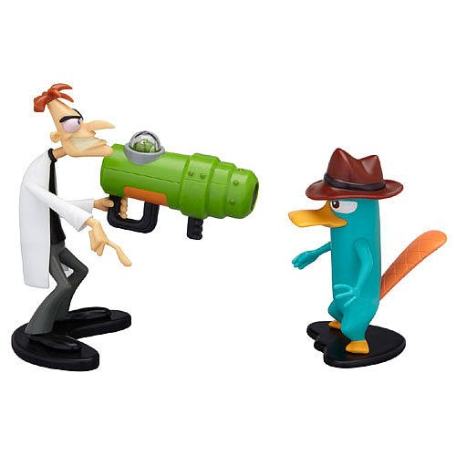 Disney Phineas and Ferb Agent P & Dr. Doofenshmirtz with Backfiring Uglyinator Gun 4-Inch Scale Action Figures