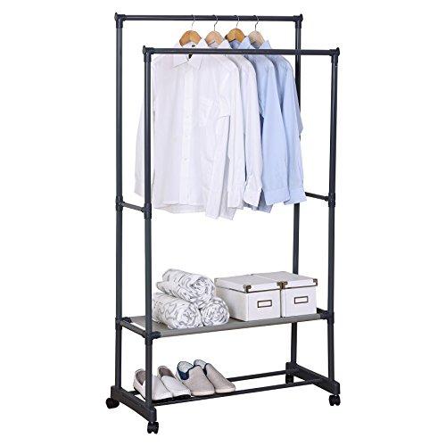 WOLTU SR0022 Kleiderständer Garderobenständer mit dem Ablage , 83x39x161cm , Teleskop Wäscheständer auf Rollen , ausziehbar , Grau