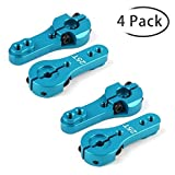 Crazepony-UK 4pcs 25T Metal RC Servo Arm Horn, 35 mm, 3 Fits XP Digital Reedy Futaba Savox Hitec Servos (Blue)