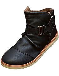 Gleader Nuevos hombres de invierno caliente Casual de cuero altos Top holgazanes Zapatos Botines Zapatillas Negro (Tamano:42)