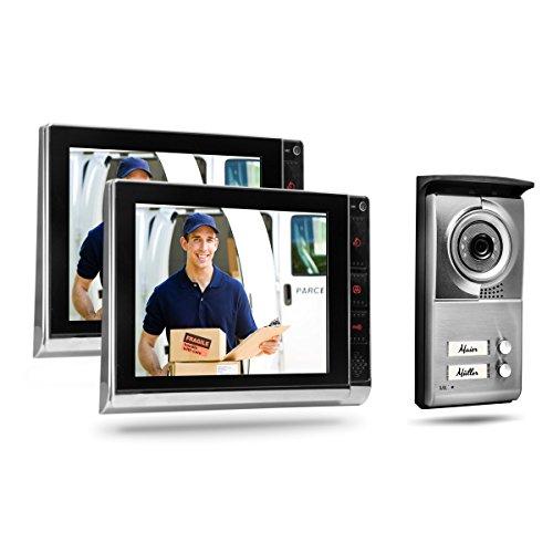 Video Türsprechanlage TSA4 von CLHome Haustür Klingelanlage 2 Familienhaus 4 Draht 2 Monitore Videosprechanlage Gegensprechanlage mit Türöffner