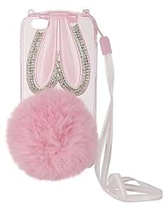FONOVO Pink New Rhinestone Cute Ball Tassels Soft TPU Phone Case Cover for iPhone 6 Plus/ 6s Plus (Pink)