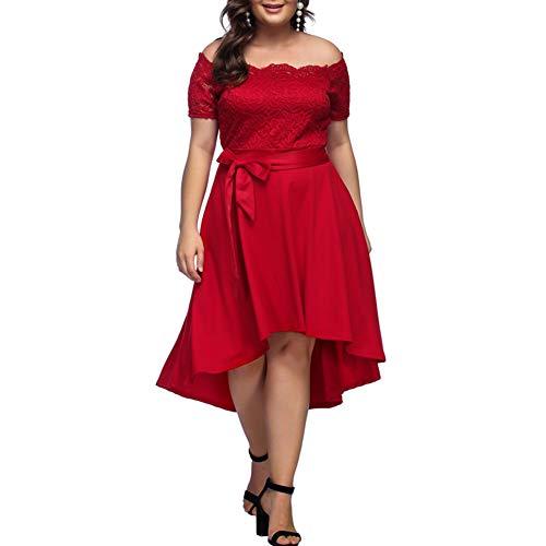 Lover-Beauty Damen Abendkleid mit Spitze große Größe Rot lang sexy Cocktailkleid - Hochzeits-abend-kleid