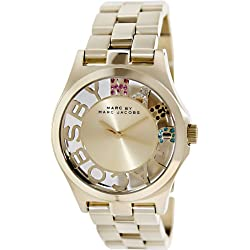 Marc Jacobs MBM3263 - Reloj con correa de piel para mujer, color dorado/gris
