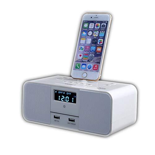BBZXLL Bluetooth-Lautsprecher-Wecker - Apple iPhone 6S / 5S Base Speaker Phone Lade-Radiowecker/Dual-USB-Ausgang/Speicher/Schlafunterstützungsfunktion/Zweikanal-Stereo-Hotel/Zimmer/Auto,White