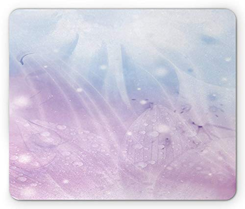 Abstract Mouse Pad, Environment Inspired Floral Pattern in Blue Pink Backdrop Natural Flowers, Standard Size Rectangle Non-Slip Rubber Mousepad, Baby Pink Baby Blue Blue Floral Natural