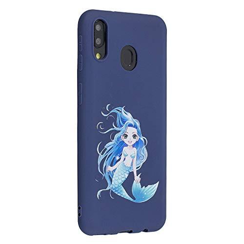 Miagon für Samsung Galaxy M30 Hülle,Ultra Dünn Kratzfest Weiche Silikon Stoßfest Flexibel Prägen TPU Rückschale Handyhülle Schutzhülle Case,Meerjungfrau