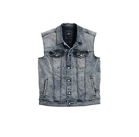 Harley-Davidson Enzyme Washed Denim Vest 96409-16VM Herren Shirt, grey, XXL (Harley Davidson Chaps)