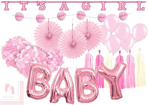XXL 36 Teile DIY Babyshower Mädchen Girlande Raumdeko Deko Set Rosa Baby Party Girl