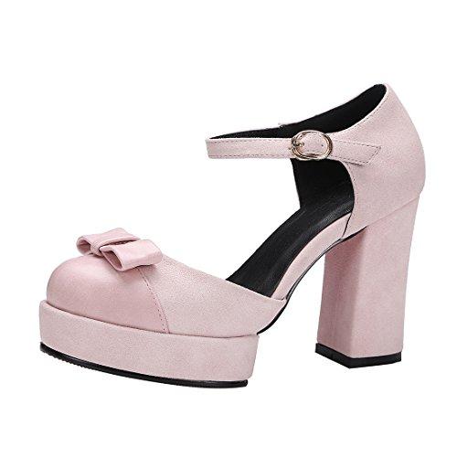 YE Damen Blockabsatz High Heels Ankle Strap Plateau Pumps mit Schleife und Riemchen 10cm Absatz Schuhe Rosa