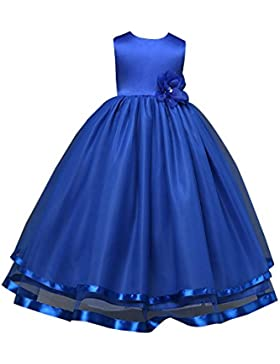Niñas Princesa Vestidos Para Fiesta Del Boda sin Mangas Largos Elegante Vestido de comunion