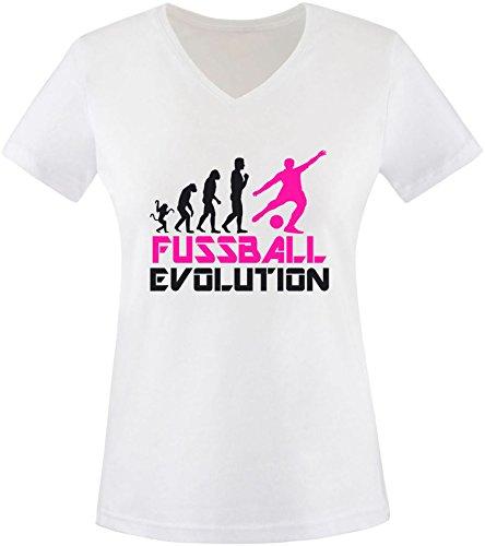 EZYshirt® Fussball Evolution Damen V-Neck T-Shirt Weiss/Schwarz/Pink