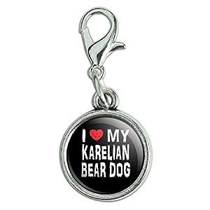 Antik Armband Anhänger Charm Zipper Pull Anhänger mit Karabinerverschluss I Love My Dog k-p