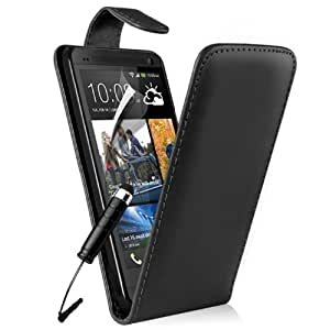 Black HTC One M7 Premium Top Flip Case Cover, Screen Protector and Polishing Cloth + High Capacitive Touch Screen Stylus