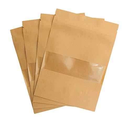 10 sacchetti in carta kraft di alta qualità per biscotti & Con finestra - richiudibile