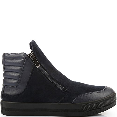 Ideal Shoes–Sneaker bi-materiale a zip fireno Marine