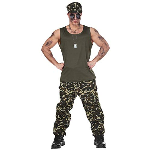 Soldat Männer Kostüm - Widmann 69443 Erwachsenenkostüm Soldat, Herren, Grün/Braun