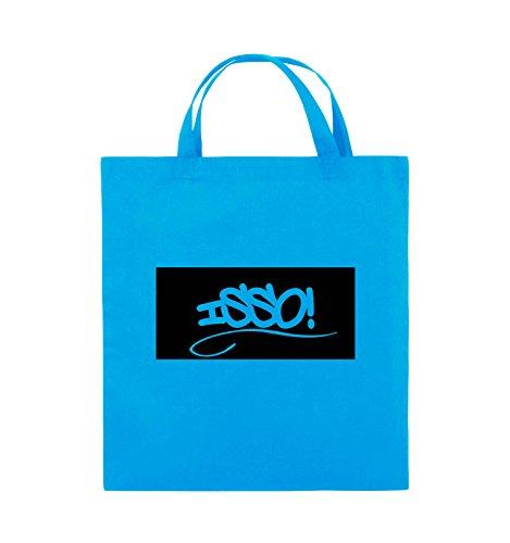 Comedy Bags - ISSO NEGATIV - Jutebeutel - kurze Henkel - 38x42cm - Farbe: Schwarz / Pink Hellblau / Schwarz