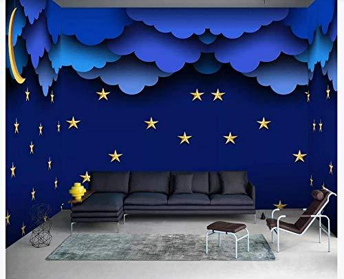 3D Benutzerdefinierte Tapete Sternenhimmel Fototapete Kinder Kinder Schlafzimmer Wohnzimmer Hintergrund Home Decoration-blue Starry Cloud Moon Kinderzimmer @ 430Cmx300Cm