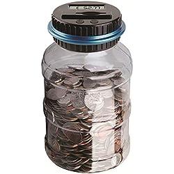 BESTZY Contador Digital Hucha Coin Bank Caja de Ahorro de Dinero de Gran Capacidad con Pantalla LCD,electrónico Banco de Monedas Caja de Ahorro de Dinero Tarro Transparente (Euro)