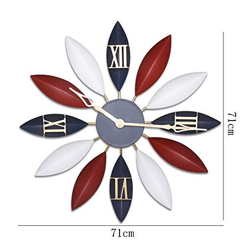 BGGZXX 20 Pulgadas Reloj De Pared Vintage Arte De Hierro Mudo, Decoración Hogareña Decoración De Pared Creativo Durable, Salón Dormitorio,Red,L