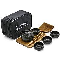 Gianchy Portátil de Viaje Kungfu Juego de té, La Haute cerámica Juego de té con Hecho a Mano de Cerámica Tetera y 4 Tazas de Té y Bambú Bandeja de té y Bolsa de Viaje (Negro)