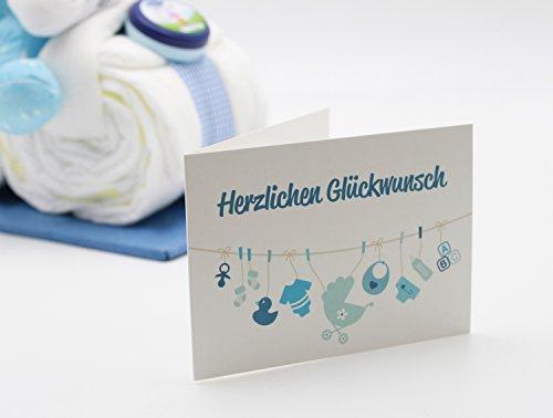 Windeltorte Windelmotorrad blau für Jungen – mit Teddybär / Das perfekte Geschenk zur Geburt oder Taufe + gratis Grußkärtchen - 3
