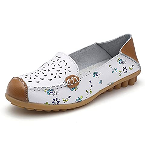 Z.SUO Women's Leather Flat Shoes Hollow Out Floral Print Casual Slip-On Driving Loafers(5.5 UK/38 EU,White)