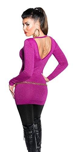 Koucla femmes chandail pull à maille fine pull lurex Collier chaîne Violet