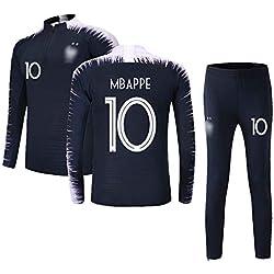 Ensembles de Sport Survêtement de Football Garçon Homme Manches Longues 2 étoiles Maillot de Football 10 Bleu S (Taille 140-150cm)