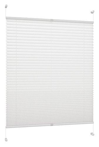 Deco Colour Blanco Profesionales de Estor Plisado, tensores, con Pinza de Soporte/fijación/sin Necesidad de taladrar, de Diferentes Anchos, Blanco, 60 cm x 130 cm (BxH)