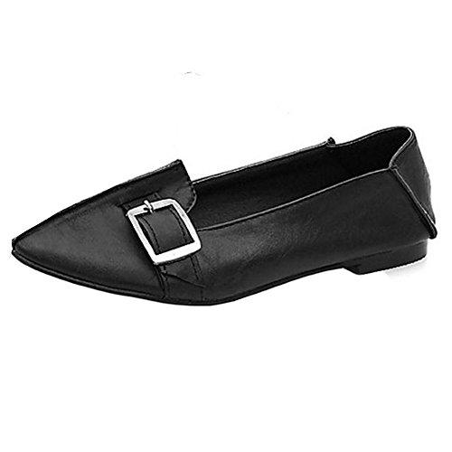 TAOFFEN Damen Retro Flach Schuhe Pointed Toe Pumps Mit Schnalle Schwarz