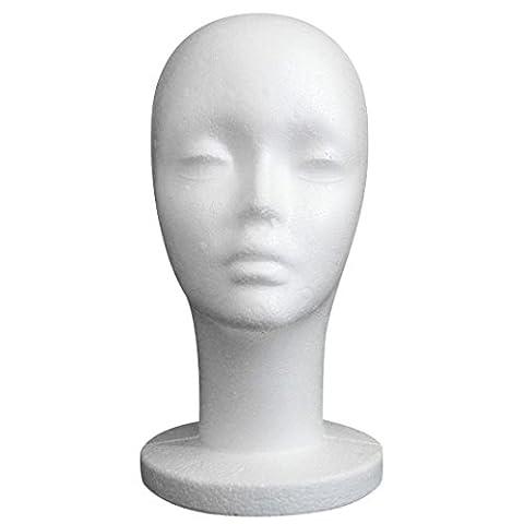 KEERADS Female Blanc Styrofoam Mannequin Mannequin Head Modèle mousse perruque de cheveux Lunettes Hat Présentoir