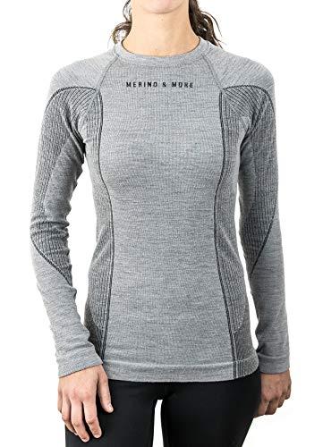 Merino & More Damen Merino Shirt Langarm - Premium Funktionsunterwäsche aus Merinowolle - Sport - Langarm - Funktionsunterhemd schwarz-grau Gr. M (Pullover Reinigungs-wolle)