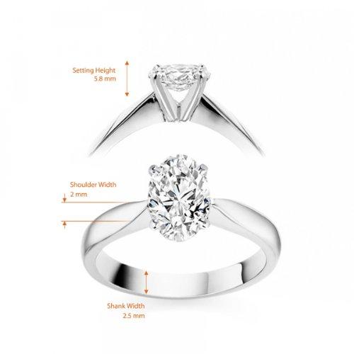 Diamond Manufacturers, Damen, Verlobungsring mit 0.25 Karat F/VS1 feinem und zertifiziertem Ovaldiamant in 18k Weißgold, Gr. 41 - 5