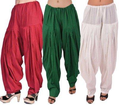 Pistaa Combo of Women Cotton Maroon, Dark Green and White Full Patiyala...