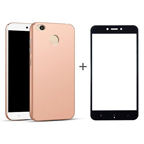 BLUGUL Cover Xiaomi Redmi 4X + Vetro Temperato, Ultra Sottile, Completamente Protettivo, Sentimento di Seta, Pellicola Protettiva e Duro Custodie for Redmi 4X Oro Rosa