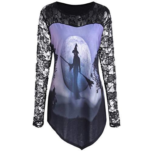 VEMOW Heißer Elegante Damen Frauen Halloween Kürbis Design T-Shirt Casual Täglichen Party Cosplay Bluse Spitze Einfügen Shirt Top(X1-Violett 2, EU-44/CN-2XL)