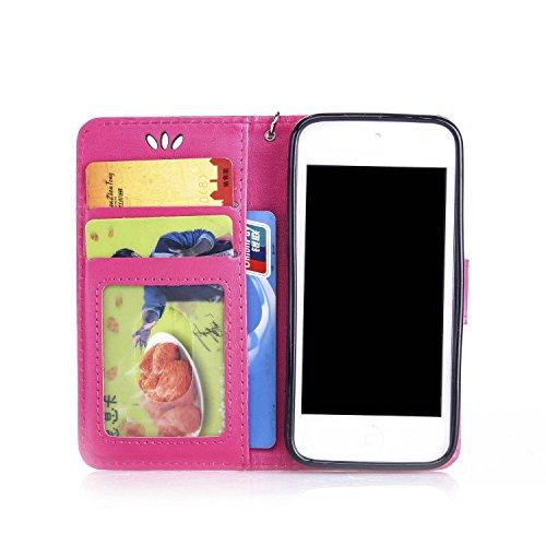 iPhone 5C Blumen Flip Schutzhülle, Aeeque Schlank Bookstyle Schick Schmetterling Blume Muster Abnehmbar Handy Lanyard mit Weich Silikon Innere Standfunktion Kartenfächer PU Leder Case Cover Schale Etu Schmetterling Hot Pink