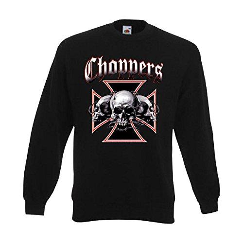 Sweatshirt Choppers Skull, cooler Druck mit drei Totenköpfe im eisernen Kreuz, Motorrad Biker american style Sweat, große Größen (ABC00231) M