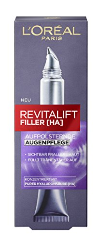 L'Oréal Paris Hyaluron Augencreme, Filler Augenpflege mit Hyaluronsäure gegen Augenringe und Falten, 2er Pack (2 x 15 ml) -