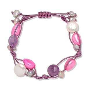 Valero Pearls Classic Collection Damen-Armband Hochwertige Süßwasser-Zuchtperlen in ca.  5-8 mm Oval pink / silbergrau  Leder violett Amethyst 18 bis 24 cm   60020118