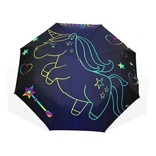 ISAOA Paraguas de Viaje automático, Paraguas Plegable Unicornio con Estrellas Resistente al Viento Ultra Ligero Protección UV Paraguas Mango Compacto para fácil Transporte para Mujeres y Hombres